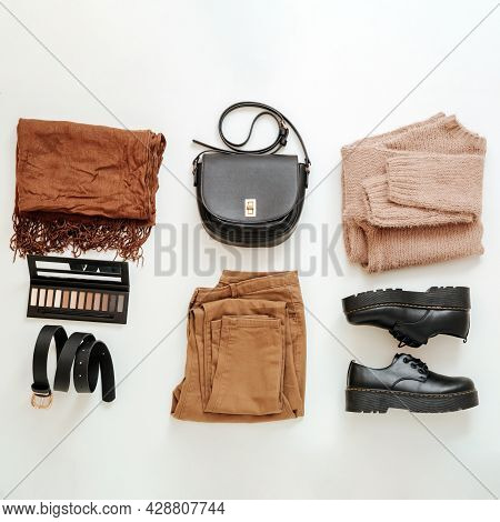 Fashion Basic Female Folded Clothes Set In Beige Brown Colour Outfit. Cloth And Shoes Casual Style W