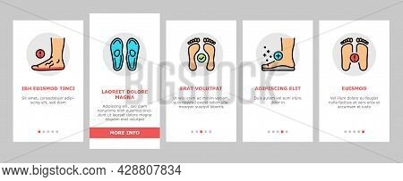Flat Feet Disease Onboarding Mobile App Page Screen Vector. Orthopedic Insoles And Shoes, Inward And