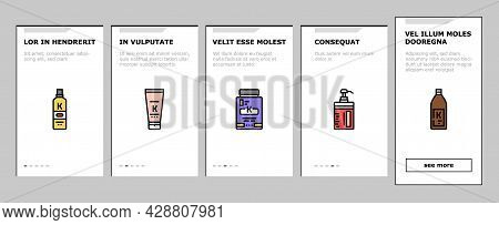 Keratin Hair Procedure Onboarding Mobile App Page Screen Vector. Keratin Cosmetic And Cream, Shampoo