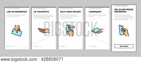 Smartphone Gesture Onboarding Mobile App Page Screen Vector. Zooming And Swiping, Press And Holding