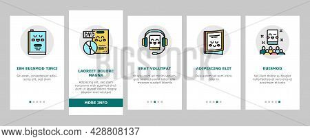 Children Library Read Onboarding Mobile App Page Screen Vector. Children Library Reading Material An