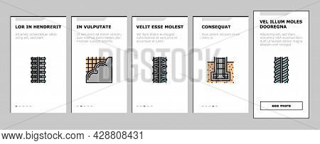 Rebar Construction Onboarding Mobile App Page Screen Vector. Threaded And Hardened Steel Fittings, M