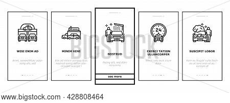 Self Service Car Wash Onboarding Mobile App Page Screen Vector. Non Contact Car Wash Station And Equ