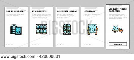 Glass Production Plant Onboarding Mobile App Page Screen Vector. Glass Bottle And Vase, Jar And Ligh
