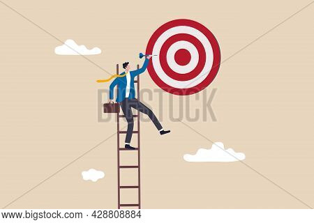 Success Ladder, Aspiration To Achieve Target, Business Goal Or Work Purpose, Aim For Perfection Conc