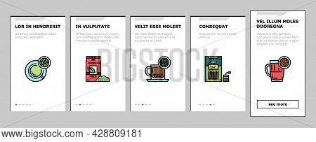 Tea Drink Production Onboarding Mobile App Page Screen Vector. Growth Of Tea On Plantation And Harve