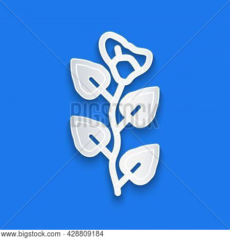 Paper Cut Ivy Branch Icon Isolated On Blue Background. Branch With Leaves. Paper Art Style. Vector