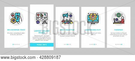User Generated Content Onboarding Mobile App Page Screen Vector. Video And Audio, Images And Text Us
