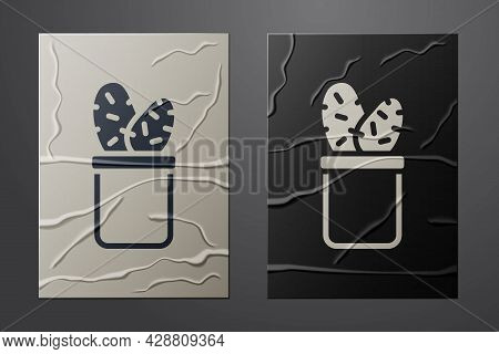 White Cactus Peyote In Pot Icon Isolated On Crumpled Paper Background. Plant Growing In A Pot. Potte