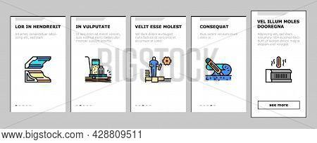 Floor Installation Onboarding Mobile App Page Screen Vector. Carpenter Covering And Floor Heating El
