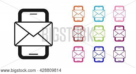 Black Mobile And Envelope, New Message, Mail Icon Isolated On White Background. Usage For E-mail New
