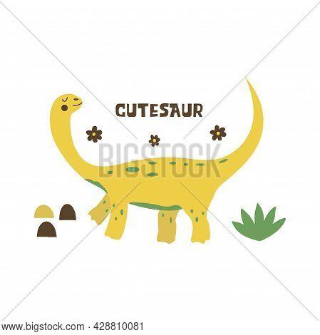 Dinosaur Brachiosaurus. Large Herbivore, Extinct Ancient Lizard With Long Neck, Jurassic Period. Pri