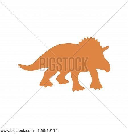 Silhouette Of Triceratops Dinosaur. Large Herbivore, Extinct Ancient Lizard With Horn, Jurassic Peri