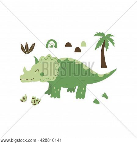 Triceratops Dinosaur. Large Herbivore, Extinct Ancient Lizard With Horn, Jurassic Period. Print Or P