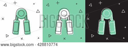 Set Sport Expander Icon Isolated On White And Green, Black Background. Sport Equipment. Vector