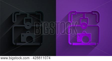 Paper Cut Gimbal Stabilizer With Dslr Camera Icon Isolated On Black On Purple Background. Paper Art