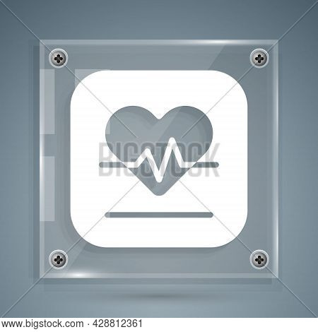 White Heart Rate Icon Isolated On Grey Background. Heartbeat Sign. Heart Pulse Icon. Cardiogram Icon