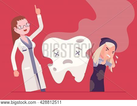 Child Girl, Angry Dentist Doctor, Unhealthy Rotten Tooth Smell. Female Stomatologist Scolding Child