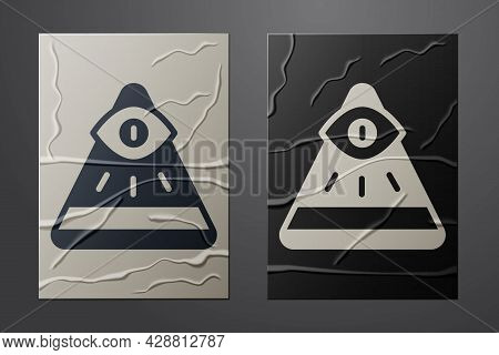White Masons Symbol All-seeing Eye Of God Icon Isolated On Crumpled Paper Background. The Eye Of Pro