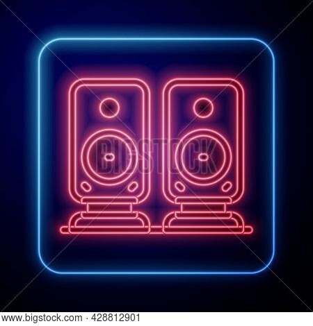Glowing Neon Stereo Speaker Icon Isolated On Black Background. Sound System Speakers. Music Icon. Mu