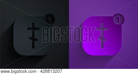 Paper Cut Online Church Pastor Preaching Video Streaming Icon Isolated On Black On Purple Background