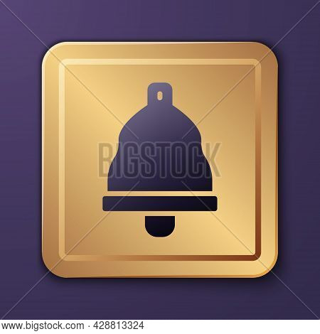Purple Church Bell Icon Isolated On Purple Background. Alarm Symbol, Service Bell, Handbell Sign, No