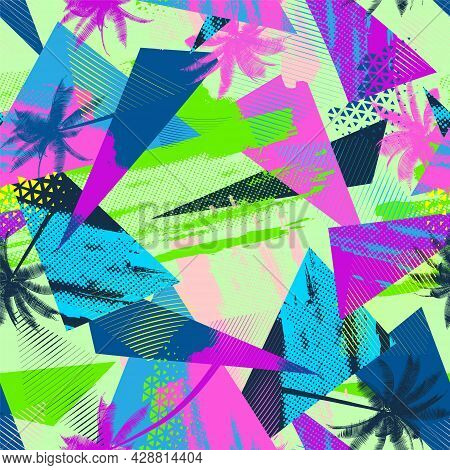 Tropical Geometry Seamless Pattern With Chaotic Palms, Triangle Elements