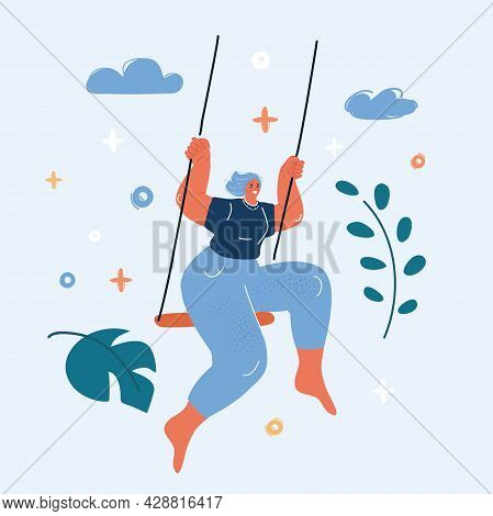 Vector Illustration Of Young Woman Is Swinging On A Swing