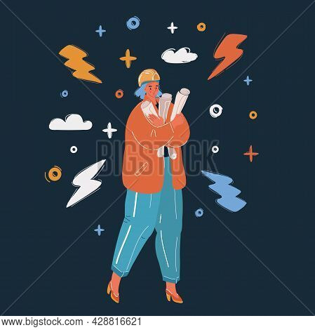 Vector Illustration Of Worker Contractor Woman. Isolated On Over Dark Backround