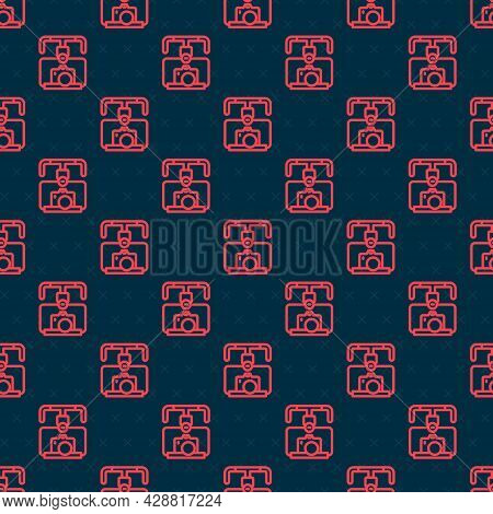 Red Line Gimbal Stabilizer With Dslr Camera Icon Isolated Seamless Pattern On Black Background. Vect
