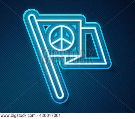 Glowing Neon Line Peace Icon Isolated On Blue Background. Hippie Symbol Of Peace. Vector
