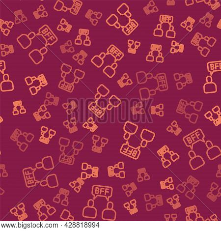 Brown Line Bff Or Best Friends Forever Icon Isolated Seamless Pattern On Red Background. Vector