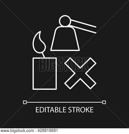 Flickering Candle Danger White Linear Manual Label Icon For Dark Theme. Thin Line Customizable Illus