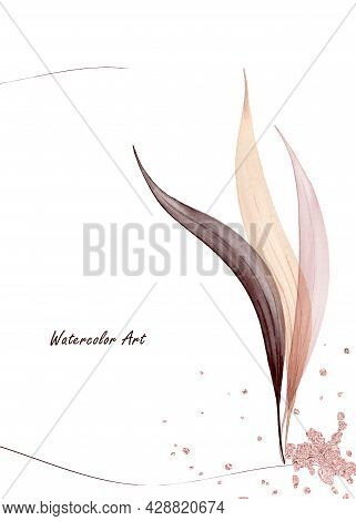 Watercolor Art Invitation Card Of Natural Gentle Leaves Decorated With Pink Gold Drops. Art Botanica