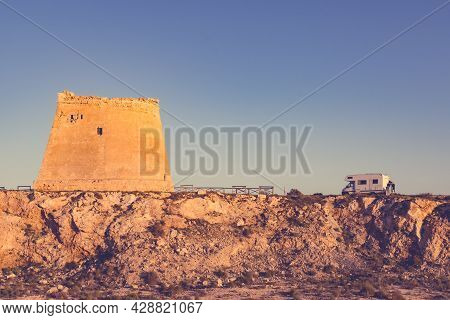 Rv Motor Home At Mesa Roldan Tower. Visiting Cabo De Gata Nijar Natural Park In Almeria Province, An