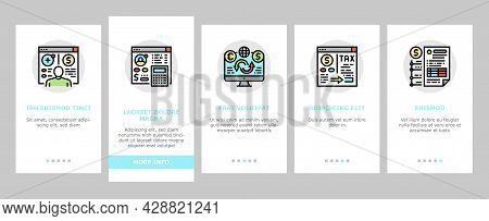 Cash Services Bank Onboarding Mobile App Page Screen Vector. Opening Customer Account And Providing