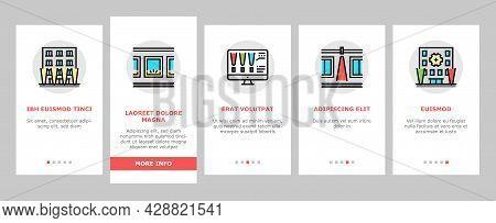 Facade Lighting Tool Onboarding Mobile App Page Screen Vector. Building Facade Lighting Electrical E