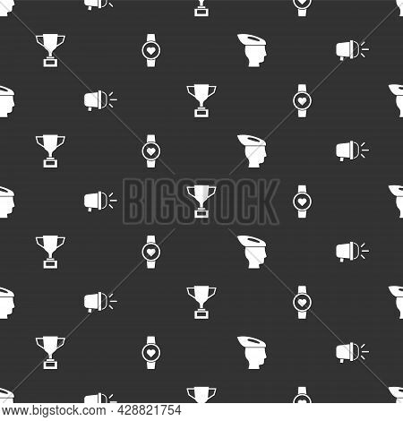 Set Bicycle Helmet, Head Lamp, Award Cup With Bicycle And Smart Watch On Seamless Pattern. Vector