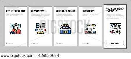 Driving School Lesson Onboarding Mobile App Page Screen Vector. Driving School Educational Material