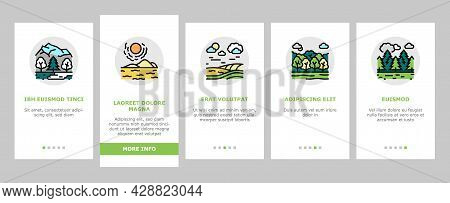 Land Scape Nature Onboarding Mobile App Page Screen Vector. Desert And Forest, Meadow And Industrial