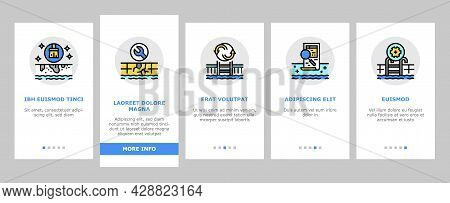 Pool Cleaning Service Onboarding Mobile App Page Screen Vector. Pool Cleaning Electronic Robot With