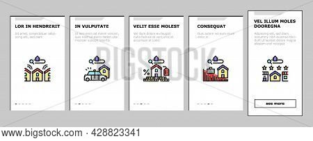 Property Rental Agency Onboarding Mobile App Page Screen Vector. Signing Contract And Payment Of Tax