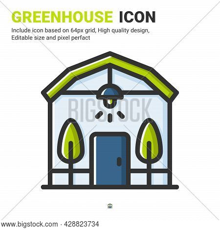 Greenhouse Icon Vector With Outline Color Style Isolated On White Background. Vector Illustration Co