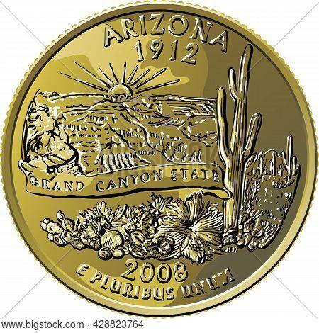 American Money, Usa Washington Quarter Dollar Arizona Or 25-cent Silver Coin, Grand Canyon, Saguaro