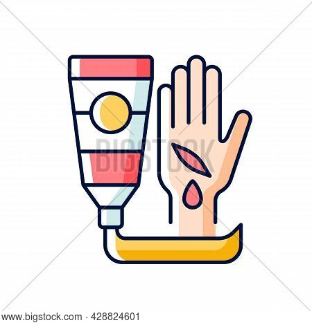 Healing Ointment For Cuts Rgb Color Icon. Preventing Wound Infection. Fast Healing. Minimizing Scar