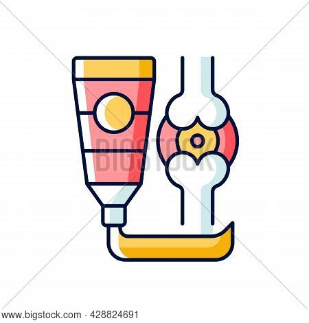 Ointment For Arthritis Rgb Color Icon. Pain Relieving Cream. Anti-inflammatory Drug. Stiffness, Musc