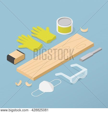 Vector Isometric Woodworking Illustration. Wooden Plank With Woodwork Tools - Chisel, Sandpaper, Var