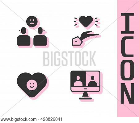 Set Video Chat Conference, Complicated Relationship, Good And Pleasant Icon. Vector
