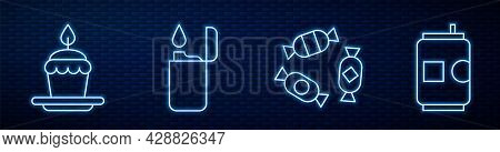 Set Line Candy, Cake With Burning Candles, Lighter And Beer Can. Glowing Neon Icon On Brick Wall. Ve