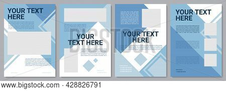 Blue Geometric Corporate Brochure Template. Flyer, Booklet, Leaflet Print, Cover Design With Copy Sp